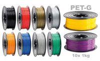 PETG Filament 3D Drucker 1,75mm / 10x 1kg Rolle 10 Farben für 3D Printer oder Stift 10er Set ( 10Kg )