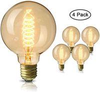 Edison Glühbirne,  E27 Vintage Globe Glühlampe 40W G80 Retro Birne Dimmbar Filament Warmweiß Dekorative Glühbirne Ideal für Nostalgie und Antike Beleuchtung - 4 Stück