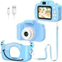 CYE Kinder Digital Kamera, Dual Lens Kameras, Fotos, Videos und Spiele für Kinder Elektronische 1080P HD-Spielzeugkamera mit 32 GB SD-Karte / 2-Zoll-Bildschirm / 8-fachem Zoom (blau)