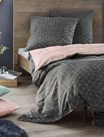Irisette Biber Bettwäsche 135x200 2tlg grau rosa   Bettwäsche-Set aus 100% Baumwolle   2 teilige Wende-Bettwäsche 135x200 cm & Kissen 80x80 cm   Geometrisches Muster