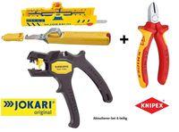 Jokari - Knipex Abisolier Elektro Installations Set 1x Abisolierzange SUPER 4 Plus 1x Abisoliermesser mit Hakenklinge 1x Abisolierer Super-Entmantler 15 und 1x Knipex VDE Seitenschneider 180mm 7006180