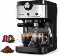 Sboly Kaffeemaschine Espressomaschine, Tropfschale Milchdampfdüse, 900ml Wassertank, 2 In 1 Einstellbares Dampfrohr und Düse, 35 s Benötigte Aufheizzeit, 19-Bar Hochdruckpumpe, Abnehmbare Tropfschale und Wassertank