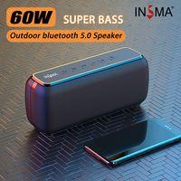 60W INSMA bluetooth 5.0 Lautsprecher TWS SD AUX IPX5 6600mAh Stereo Subwoofer