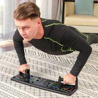 SONGMICS Liegestützgriffe mit Push-up-Board, 14-in-1 Liegestützbrett, Fitnesstraining für zu Hause, Sportgerät, Muskelaufbau, Bodybuilding, Farbmarkierungen, rutschfest, schwarz SPU121BK