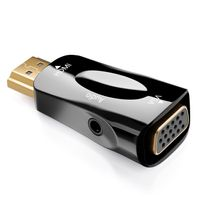 deleyCON HDMI zu VGA Adapter mit Audio Übertragung - Kabel Adapter Stecker HDMI-Stecker zu VGA-Buchse 3,5mm Klinke Audio Buchse Vergoldete Kontakte für TV Beamer Computer Laptop Notebook