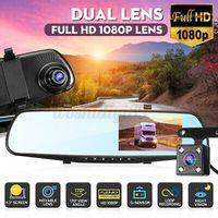 """4.3"""" 1080P Spiegel Dash Cam Dual Lens Auto DVR Rückfahrkamera Recorder WD"""
