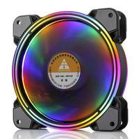 RGB Gehaeuseluefter 120mm PC Gehäuse Lüfter LED Gehäuselüfter Bunte Lampeneffekt Gehäuselüfter Kühler 120x120x25mm
