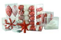 100 Weihnachtskugeln Rot Weiss mit Stern Christbaumspitze