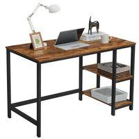 VASAGLE Computertisch mit 2 Regale rechts/links 120 x 75 x 60 cm Schreibtisch Holzoptik Metallgestell PC-Tisch Arbeitstisch Vintage LWD47X