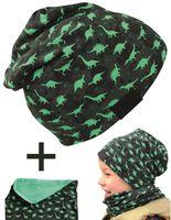 HECKBO® Kinder Jungen Beanie Mütze & Loop-Schal Set | geeignet für Frühling, Sommer, Herbst | Wendemütze Dinosaurier Dino | 2 bis 7 Jahren | 95% Baumwolle | weiches & pflegeleichtes Stretch-Material