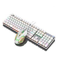 Mechanische Gaming Tastatur, RGB LED Beleuchtung, Titan Switches,  Multimedia-Tasten,Beleuchtet Gaming Tastatur USB Ergonomisch + 3200DPI Maus Weiß