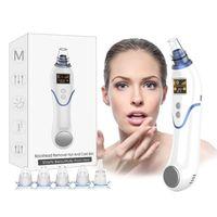 Lewecare Mitesserentferner Vakuum Elektrischer Gesichtsreiniger Akne Pickel Extraktor mit Kalt- und Heißkompressions-LED-Anzeige und 5 Saugköpfen