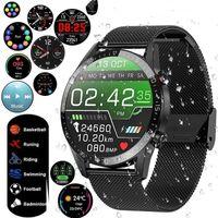 autolock IP68 Wasserdichter Fitness Tracker EKG Herzfrequenz Blutdruckmessgerät Bluetooth Musik Armbanduhr Armband Smart Band Outdoor Sport Smartwatch Schwarz