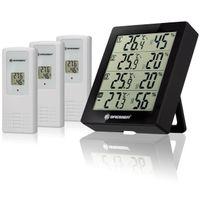 BRESSER Temeo Hygro Quadro - Thermo- und Hygrometer mit 4 unabhängigen Messdaten Farbe: schwarz