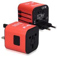 kwmobile Universal Reiseadapter für 150 Länder - Stromadapter Stecker Europa UK Australien USA - Weltreise Reisestecker Rot - Don't Touch Design
