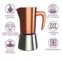 bonVIVO Espresso-Kocher, Maker, Kaffee-Maschine Edelstahl für 2 oder 6 Tassen, Farbe:Kupfer