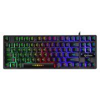 GK-10 USB Wired Keyboard Gaming-Tastatur 87 Tasten Bunte Tastatur mit Hintergrundbeleuchtung Ergonomische Gaming-Tastatur Schwarz