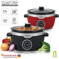 TurboTronic / Digitaler Slow Cooker mit Timer / rot / 3,5 L / Warmhaltefunktion, Schongarer, Dampfgarer, Schmortopf, Gartopf, Sous Vide Garer