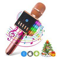 Karaoke Mikrophon Bluetooth 4.1 mit schönem Licht, Android /iOS, PC, Ideal für Musik abspielen und singen,drahtloses Karaoke Mikrofon Kinder