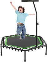 127cm (50 '') Fitness-Trampolin, stummes Mini-Trampolin mit einstellbarem Handlauf, Indoor-Rebounder für Erwachsene und Kinder, perfekter Urban-Cardio-Training Home Trainer, Bungee-Seil-System, maximal 130kg