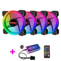 120 MM RGB-Computerlüfter mit Fernbedienung, vier Lüfter mit einer Steuerung