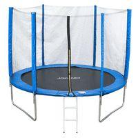JAWINIO Trampolin 305 cm Gartentrampolin Trampolin Kinder Komplett-Set Leiter Sprungtuch Randabdeckung Blau