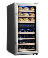 Kalamera Weinkühlschrank, Freistehend,33 Flaschen,100 Liter, 2 Zonen,Kompressor,LED-Display,Edelstahl Glastür,KRC-33BSS