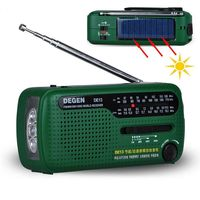 Tragbares Kurbel-Radio Weltempfänger,DE13 FM AM SW Kurbel-Dynamo Solarenergie für den Ausnahmezustand