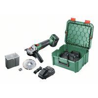 Bosch Advancedgrind 18 Akku-Winkelschleifer, 125 mm Schleifscheibe, variable Geschwindigkeit, Auslaufbremse, Blockierschutz, inklusive Lithium-Ionen-Akku und Ladegerät