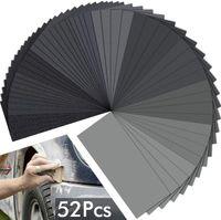 Schleifpapier Set 52 Blatt 120-3000 Körnung Schleifpapier Nass und Trocken Schleifpapier Nassschleifpapier für Auto Holzmöbel Glas Lack Metall Keramik Stein