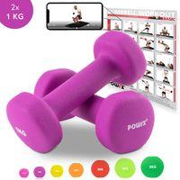Neopren Hanteln inkl. Workout I 0,5 - 5 kg I Gewichte für Gymnastik Kurzhanteln Gewicht: 2 x 1 kg