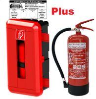 Feuerlöscher 6kg ABC Pulver mit Schutzbox aus Kunststoff + Prüfnachweis Manomete (Mit Prüfnachweis u. Jahresmarke)