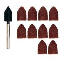 Proxxon Schleifkappenträger 9 mm je 5 Schleifkappen Korn 80 und 150