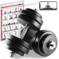 Kurzhantel-Set 20, 30, od. 40kg inkl. Workout I Hantelset mit Kunststoffscheiben Gewicht: 2 x 15 kg