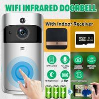 Video-Türklingel, WLAN Nachtsichtkamera Mit Kamera IR Nachtsicht Funk Ring Doorbell+Batterie+32GB SD-Karte