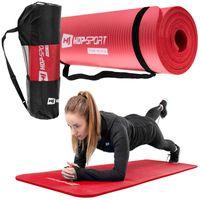 Hop-Sport Gymnastikmatte 1cm  - rutschfeste Yogamatte für Fitness Pilates & Gymnastik mit Transporttasche - Maße 180cm Länge 61cm Breite  - rot