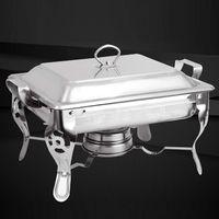 6L Chafing Dish Warmhaltebehälter mit Griff Speisenwärmer Edelstahl Quadratischer Essen Buffetwärmer Rechaud für Buffet Catering Party