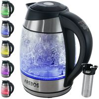 AREBOS Edelstahl Wasserkocher Glas Temperaturwahl mit LED Warmhaltefunktion 1,8L 2200W