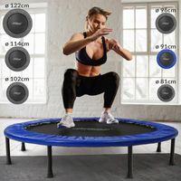 Physionics® Fitness Trampolin - Durchmesser Ø 91cm, Indoor und Outdoor, max: 100 KG, mit Randabdeckung - Kindertrampolin, Gartentrampolin, Mini Trampolin, klappbar