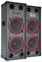 """Fenton SPB-210 - PA-Aktiv-Lautsprecher, 1200 Watt max., je 2 x 10""""-Woofer und 2 Piezo-Hochtöner, Bluetooth, USB- und SD/MMC, Tragegriffe, Schutzecken und Boxengitter aus Metall, schwarz-rot"""