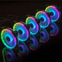 120mm PC-Lüfter Computergehäuse PC RGB Lüfter Fan LED-Kühler Gehäuselüfter mit leisem Mehrfarben Fernlüfter für Desktop PC