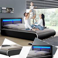 Polsterbett Murcia 140 x 200 cm – Bett mit LED, Lattenrost, Kopfteil & Kunstleder – Bettgestell gepolstert, gemütlich & modern - schwarz | ArtLife