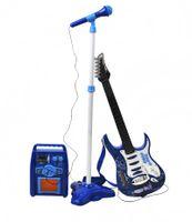 E-Gitarre + Verstärker + Mikrofon mit Ständer Blau Set für Jungen 1554