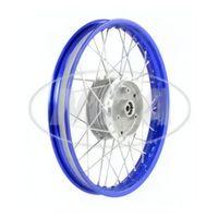 Speichenrad 1,5x16 Zoll Alufelge blau eloxiert und poliert + Chromspeichen