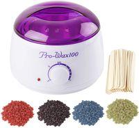 400g Wachs Bohnen Wachsgerät Set Haarentfernung Wachserhitzer Wachs Erhitzer Salon Haarentfernung,lila