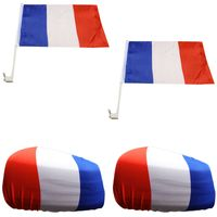 """Fan-Paket-3 """"Frankreich"""" France WM EM Länder Fußball Flaggen Fahren Autoset Spiegelflaggen"""