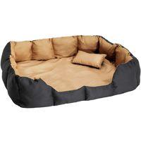 tectake Hundebett mit Decke und Kissen 110 x 90 cm - schwarz/braun