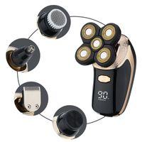 LED 4D Rotary Electric Shaver Wiederaufladbare Glatze Rasierer Bartschneider Black Gold