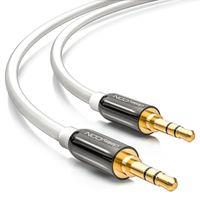 deleyCON 12,5m Klinkenkabel 3,5mm AUX Kabel Stereo Audio Kabel Klinkenstecker gerade für PC Laptop Smartphone uvm. Weiß