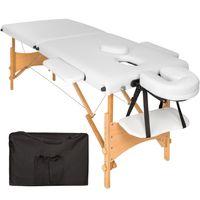tectake 2 Zonen Massageliege mit 5cm Polsterung und Holzgestell - weiß